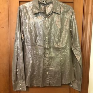 J.CREW Silver Metallic Shimmer Button-down Blouse